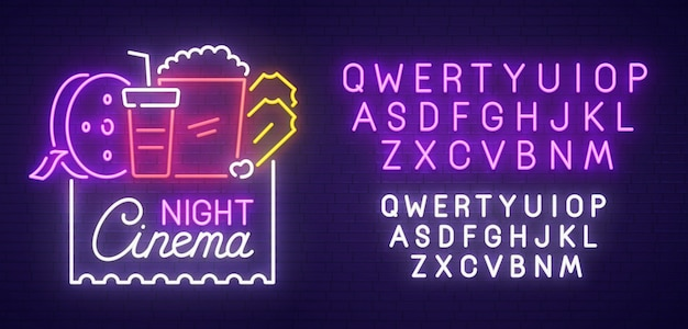 Sinal de néon de noite de cinema