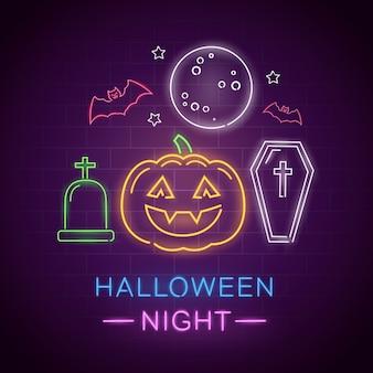 Sinal de néon de noite de halloween