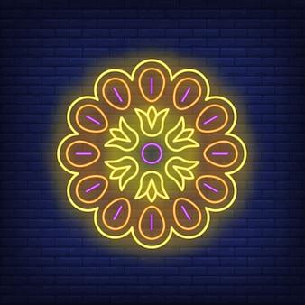 Sinal de néon de padrão de mandala