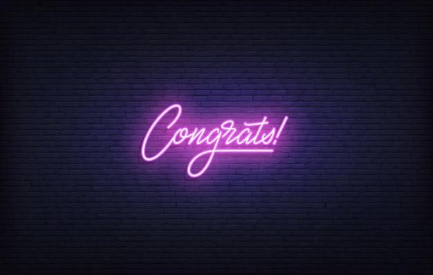 Sinal de néon de parabéns. modelo de letras de néon brilhante parabéns.