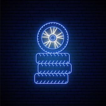 Sinal de néon de pneu