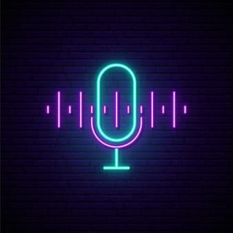 Sinal de néon de podcast