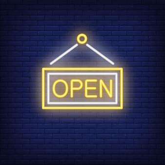Sinal de néon de porta aberta
