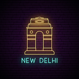 Sinal de néon de portão de delhi.