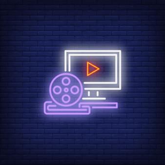Sinal de néon de produção de vídeo