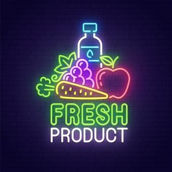 Sinal de néon de produto fresco