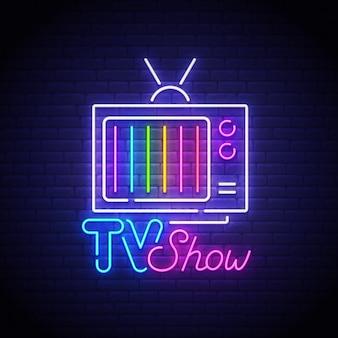 Sinal de néon de programa de tv