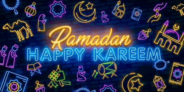 Sinal de néon de ramadan kareem