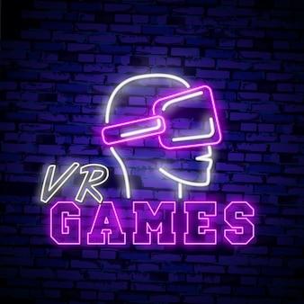 Sinal de néon de realidade virtual, tabuleta brilhante