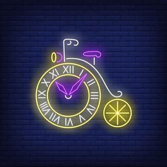 Sinal de néon de relógio em forma de roda