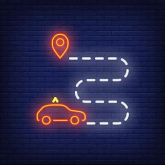 Sinal de néon de rota de táxi