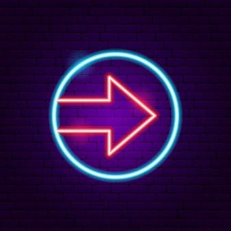Sinal de néon de seta de círculo. ilustração em vetor de promoção de direção.
