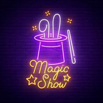 Sinal de néon de show de mágica
