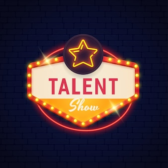 Sinal de néon de show de talentos