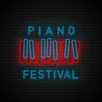 Sinal de néon de símbolo de piano