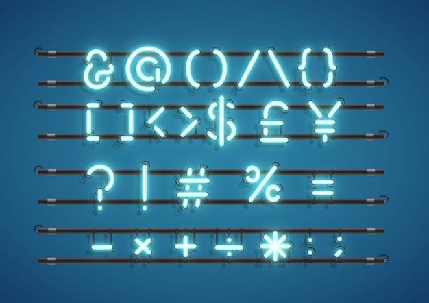 Sinal de néon de símbolos de texto