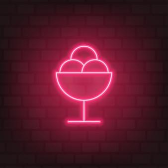 Sinal de néon de sorvete vetor de luz de rua rosa