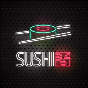 Sinal de néon de sushi, serviço de entrega de sushi