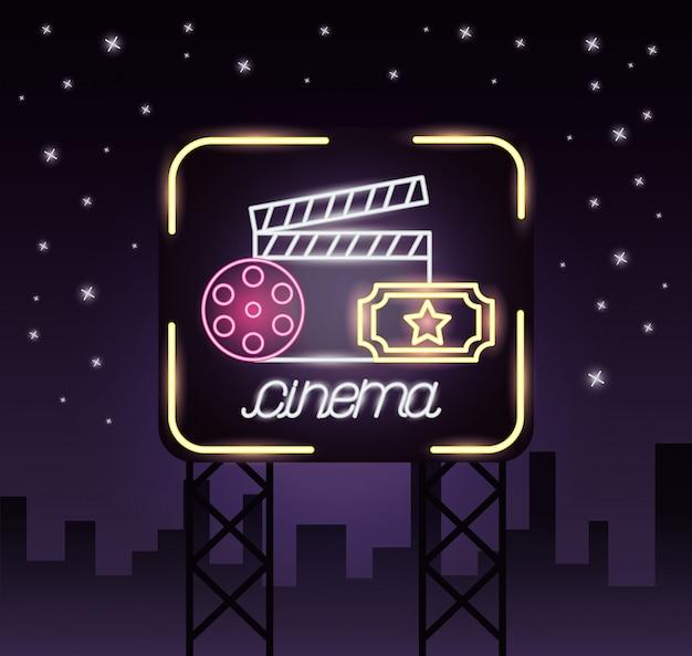 Sinal de néon de tempo de filme
