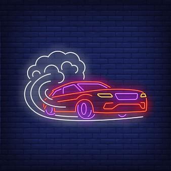Sinal de néon de velocidade crescente de carro