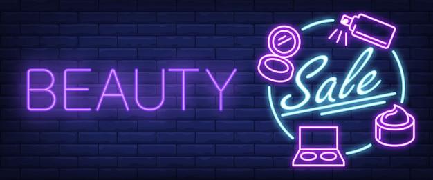 Sinal de néon de venda de beleza