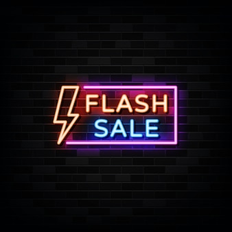 Sinal de néon de venda de flash, estilo néon