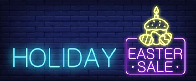 Sinal de néon de venda de páscoa de férias