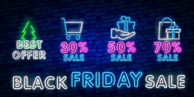 Sinal de néon de venda de sexta-feira negra