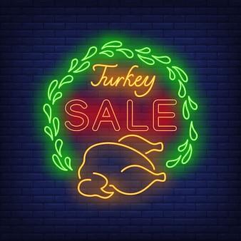 Sinal de néon de venda de turquia
