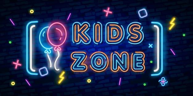 Sinal de néon de zona de crianças, tabuleta brilhante