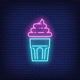 Sinal de néon delicioso cupcake