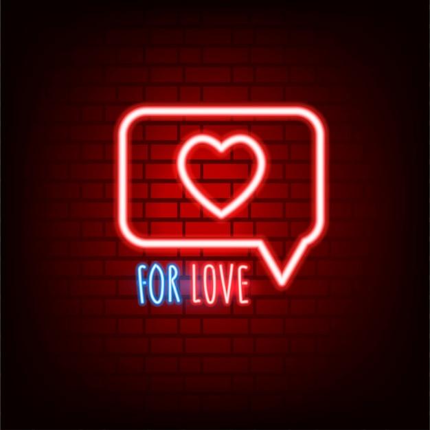 Sinal de neon. dia dos namorados. texto brilhante.
