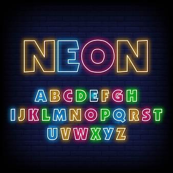 Sinal de néon do alfabeto