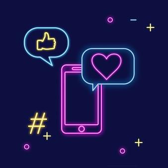 Sinal de néon do aplicativo de mídia social para conversar
