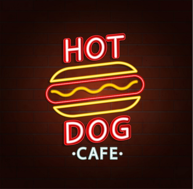 Sinal de néon do café de hambúrguer.