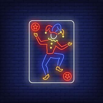 Sinal de néon do cartão de jogo do palhaço.