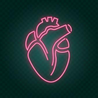 Sinal de néon do coração real