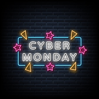 Sinal de néon do cyber segunda-feira, banner de luz, tabuleta de néon do anúncio.