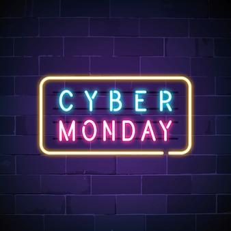 Sinal de néon do cyber segunda-feira