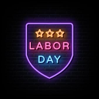Sinal de néon do dia mundial do trabalho estilo néon