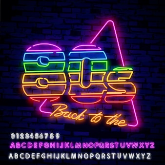 Sinal de néon do estilo retrô dos anos 80