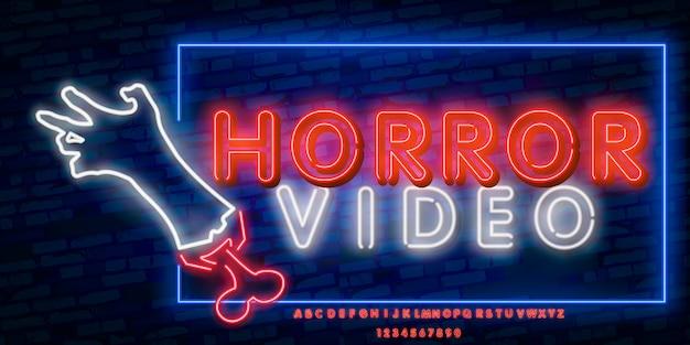 Sinal de néon do filme de terror, tabuleta brilhante, bandeira clara.
