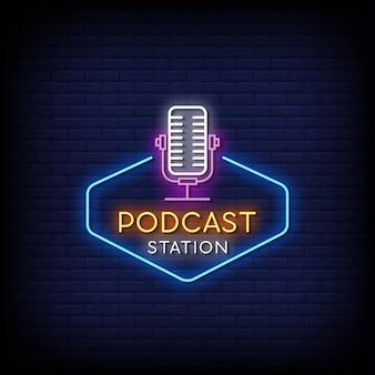 Sinal de néon do logotipo da estação de podcast