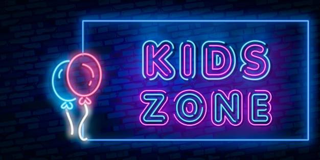 Sinal de néon do molde do projeto da zona dos miúdos, bandeira clara, tabuleta de néon, propaganda brilhante noturno, inscrição clara.