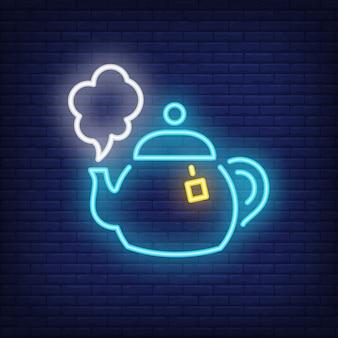 Sinal de néon do pote de chá quente