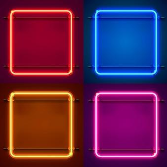 Sinal de néon do quadro em forma de um quadrado. defina a cor. elemento de design do modelo. ilustração vetorial