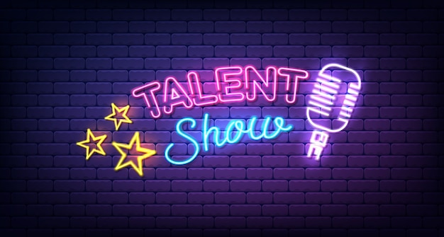 Sinal de néon do show de talentos. quadro indicador noturno, publicidade brilhante todas as noites, inscrição leve.