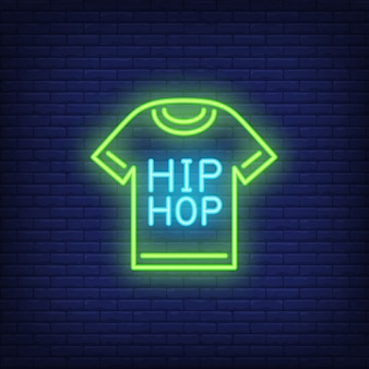Sinal de néon do t-shirt do hip-hop