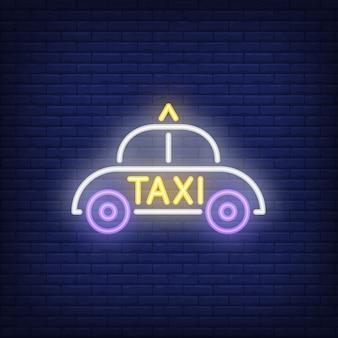 Sinal de néon do táxi