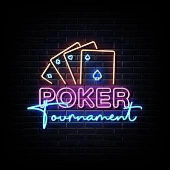 Sinal de néon do torneio de pôquer na parede de tijolos pretos